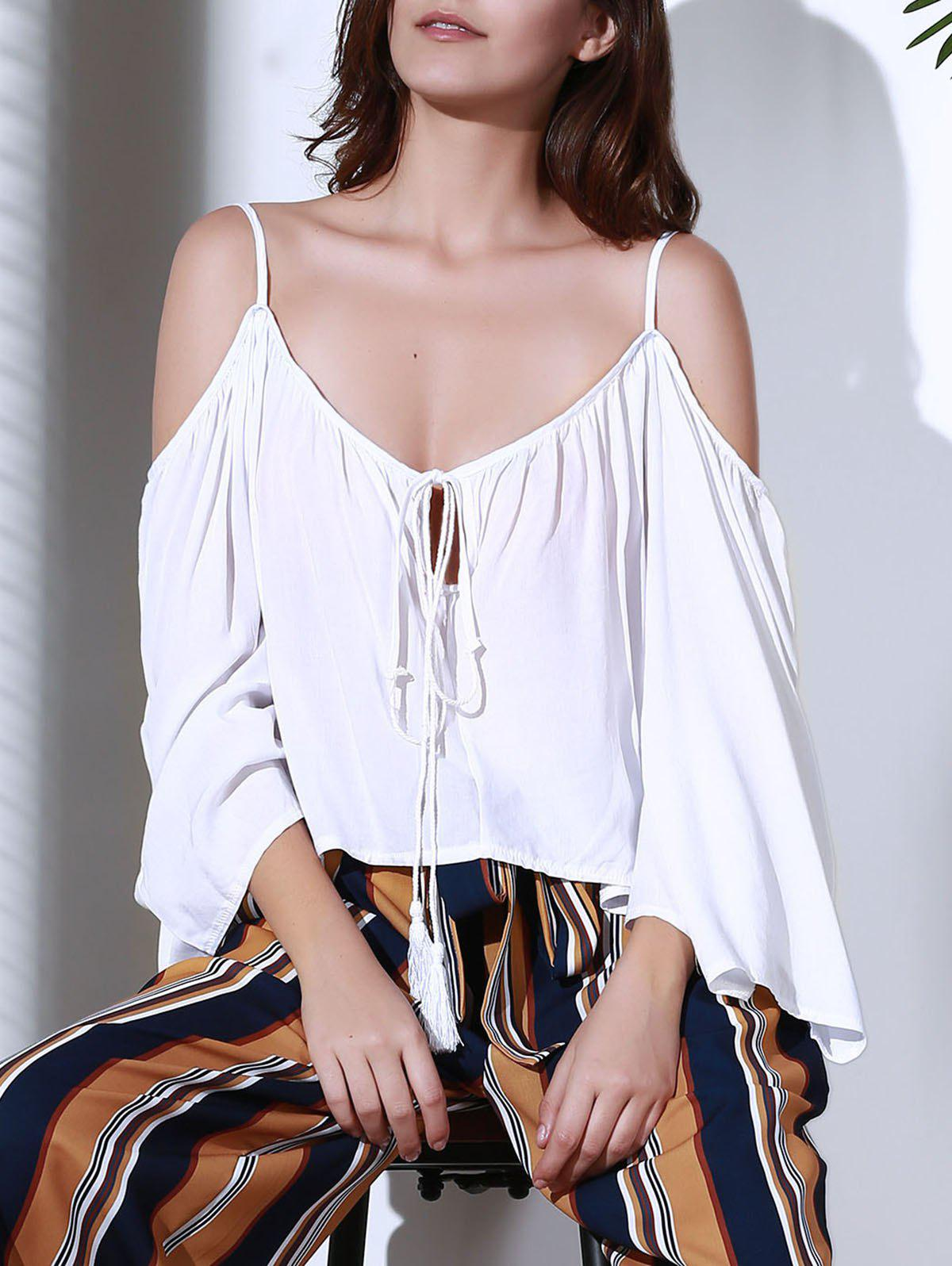 Trendy Cut Out White Loose Blouse For Women - WHITE S