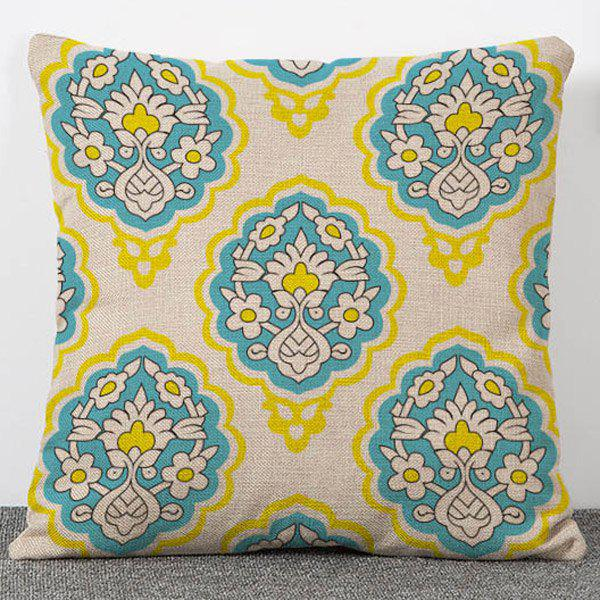 Hot Sale Vintage Style Flowers Pattern Flax Pillow Case(Without Pillow Inner) - COLORMIX