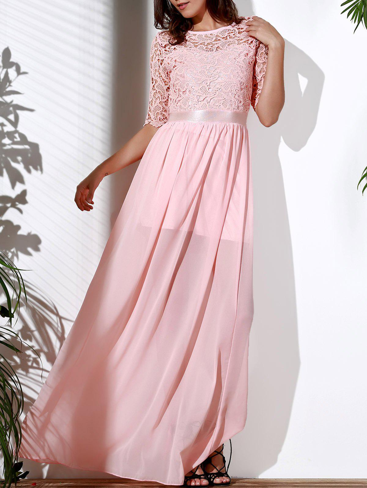 Elegant 1/2 Sleeve Cut Out Lace Spliced Solid Color Maxi Dress For Women - SHALLOW PINK 2XL