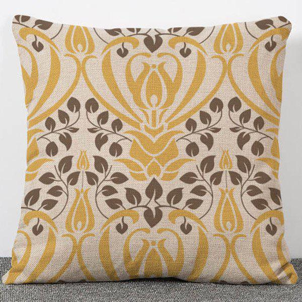 Stylish Simple Style Leaves Pattern Flax Pillow Case(Without Pillow Inner) - COLORMIX