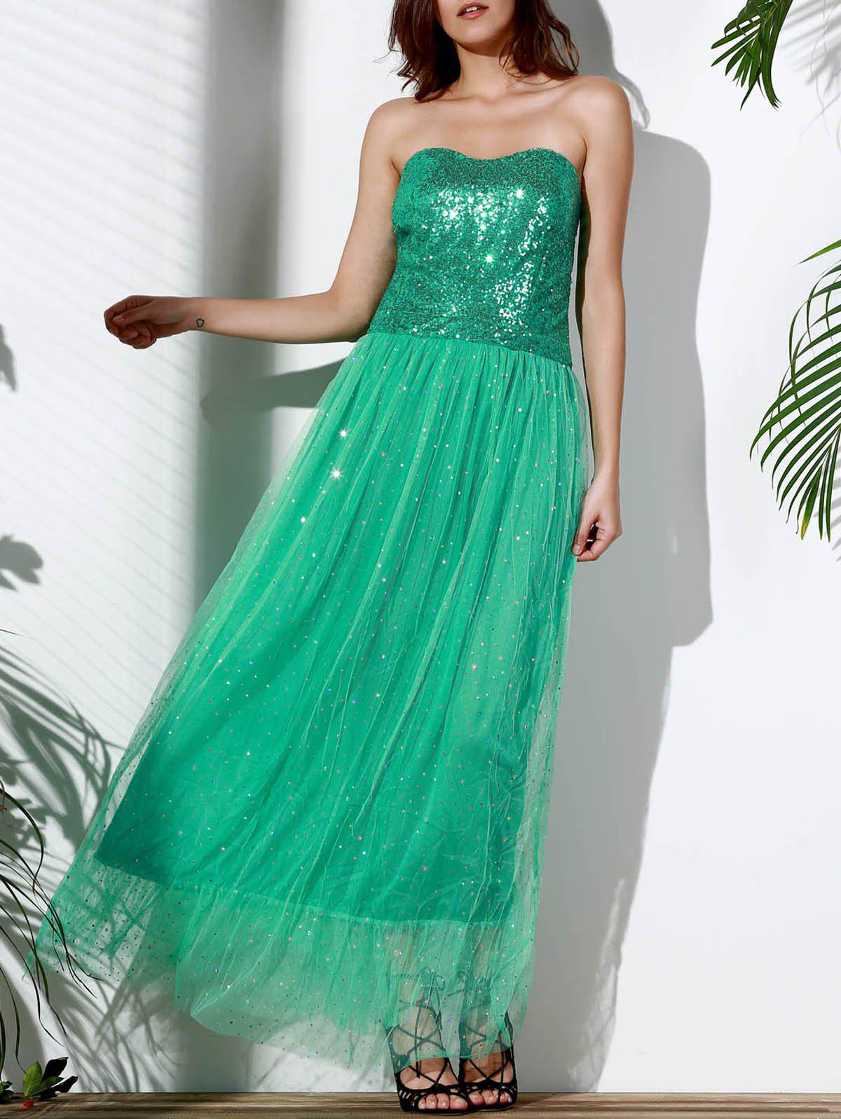 Alluring Strapless Sleeveless Sequined Spliced Womens Maxi Dress