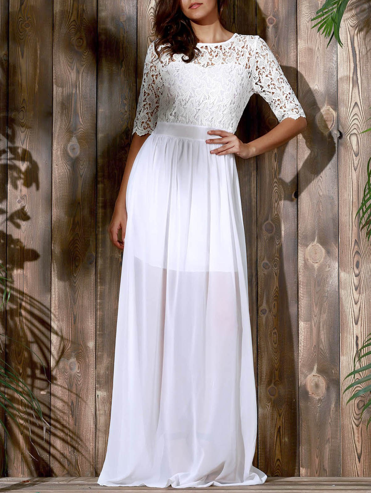 Elegant 1/2 Sleeve Cut Out Lace Spliced Solid Color Maxi Dress For Women - WHITE M