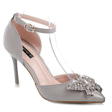Trendy Two-Piece and Butterfly Pattern Design Women's Pumps - GRAY 39