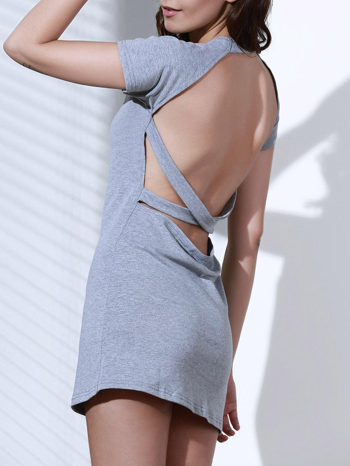 Trendy Grey Short Sleeve Backless Jewel Neck Dress For Women - M GRAY