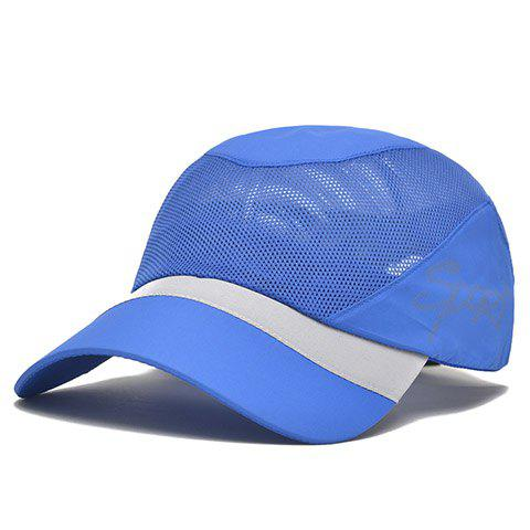 Stylish Hollow Out Mesh Embellished Color Block Baseball Cap - BLUE