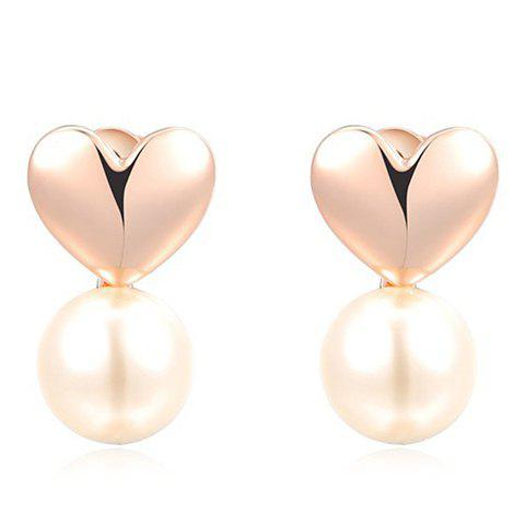 Pair of Heart Faux Pearl Decorated Earrings - GOLDEN