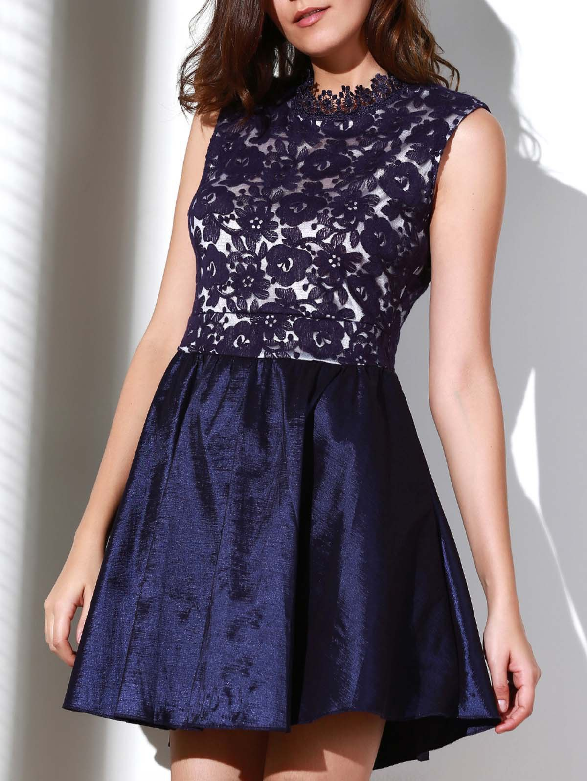 Noble Solid Color Stand Collar Hollow Out See-Through Ball Gown Dress For Women - PURPLISH BLUE S
