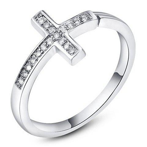 Rhinestoned Cross Ring - SILVER ONE-SIZE