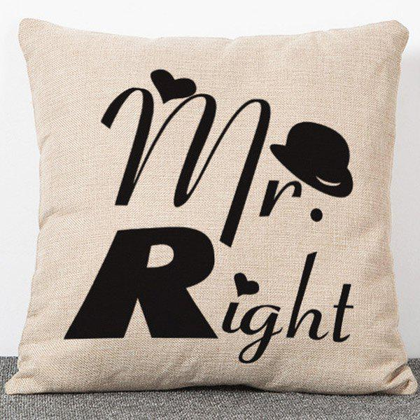 Fashionable Letters Pattern Flax Pillow Case(Without Pillow Inner) - APRICOT