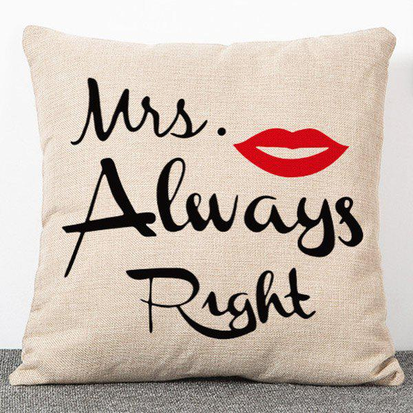 Stylish Letters and Red Lips Pattern Flax Pillow Case(Without Pillow Inner) - APRICOT