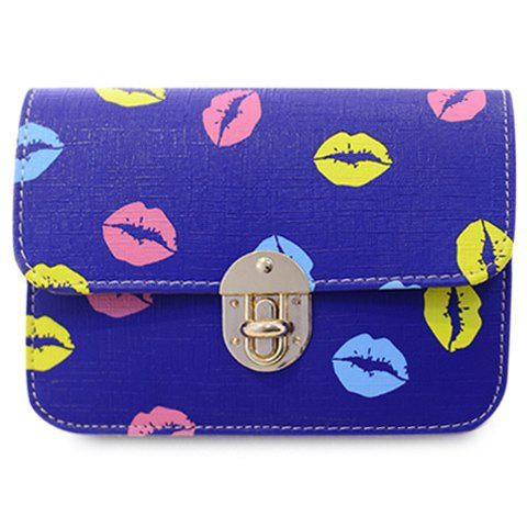 Trendy Chain and Lip Pattern Design Women's Crossbody Bag - BLUE