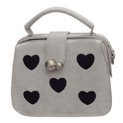 Sweet Heart Print and PU Leather Design Tote Bag For Women