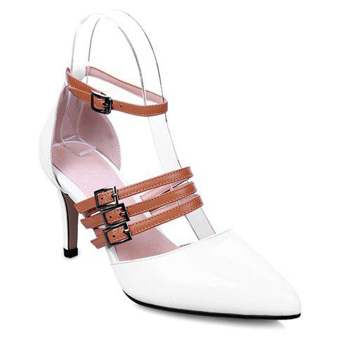 Trendy Buckle Strap and Patent Leather Design Pumps For Women - WHITE 37