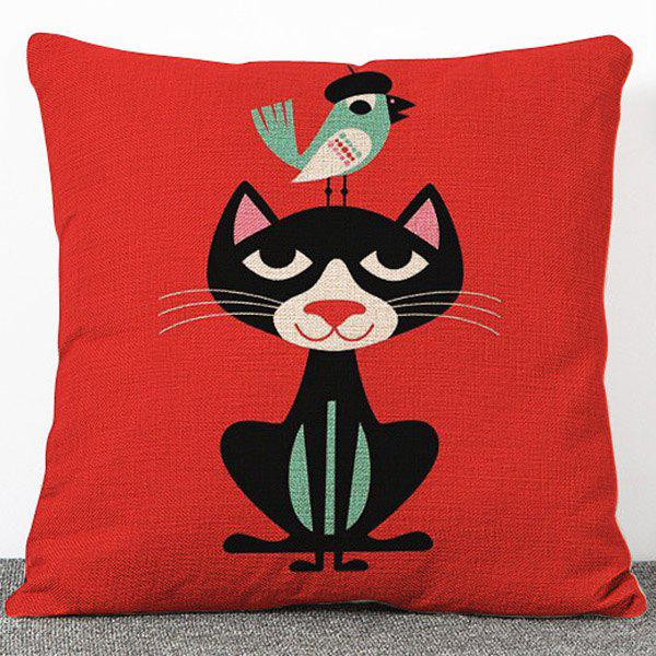 Stylish Little Black Cat Pattern Flax Pillow Case(Without Pillow Inner) - RED
