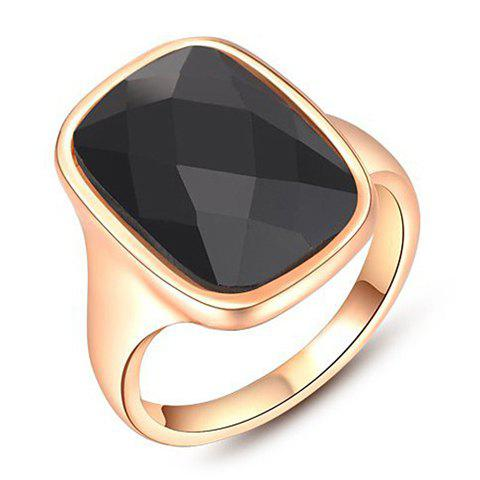 Alloy Faux Black Gem Decorated Ring - GOLDEN ONE-SIZE