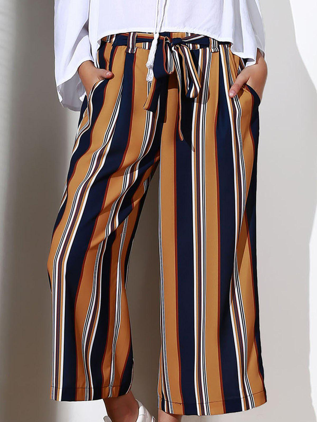 Chic High-Waisted Pocket Design Striped Women's Cropped Pants - GINGER S