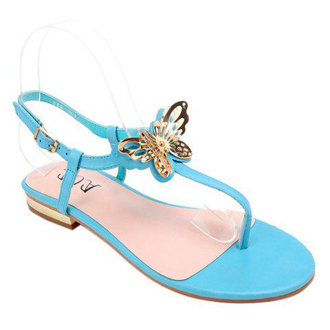 Trendy Solid Color and Butterfly Design Women's Sandals - AZURE 38
