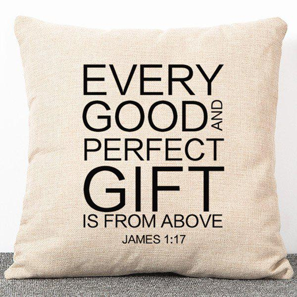 Stylish Flax Simple Style Letters Pattern Pillow Case(Without Pillow Inner) - APRICOT