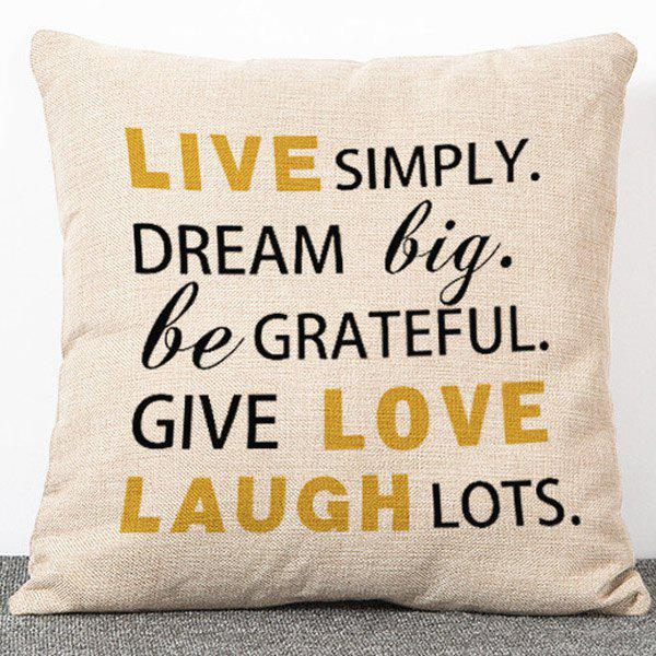 High Quality Flax Letters with Personality Design Pillow Case(Without Pillow Inner) - APRICOT