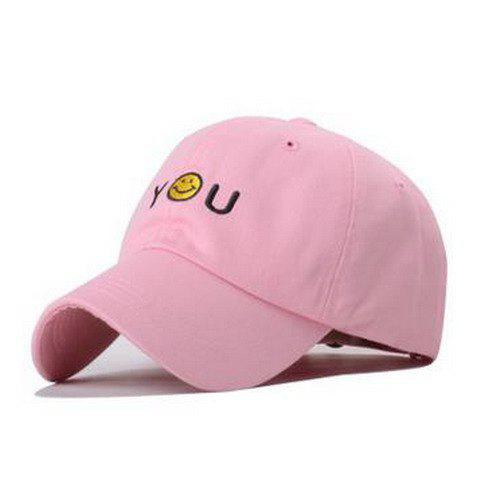 Chic Smilling Face and Letter Embroidery Women's Baseball Cap - PINK