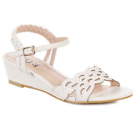 Stylish Hollow Out and Weaving Design Women's Sandals - WHITE 39