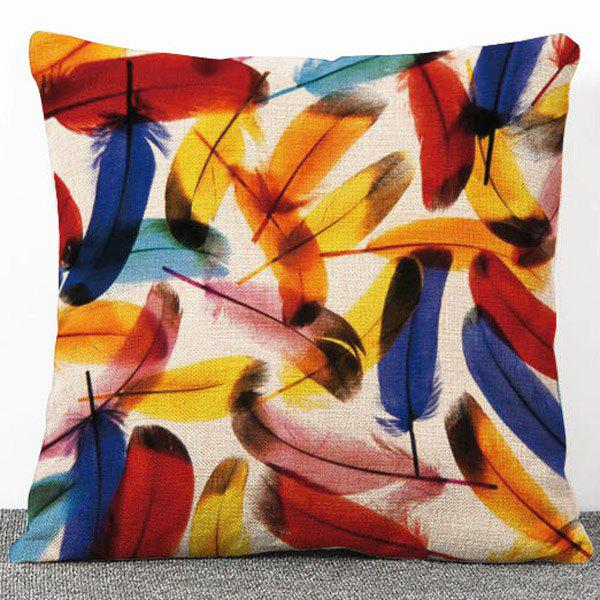 Fashion Colorful Feather Pattern Flax Pillow Case(Without Pillow Inner) - COLORMIX