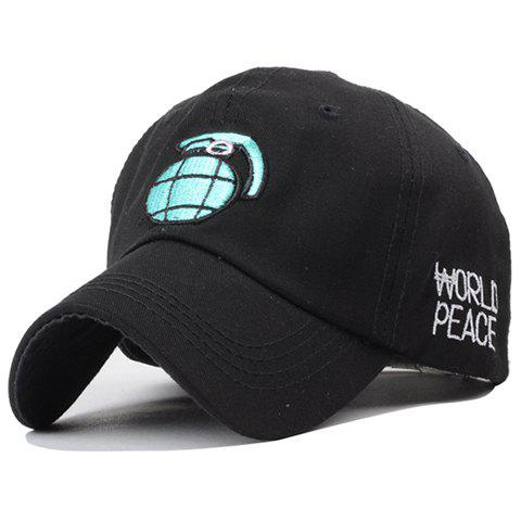 Stylish Grenade and Letter Embroidery Men's Baseball Cap - BLACK