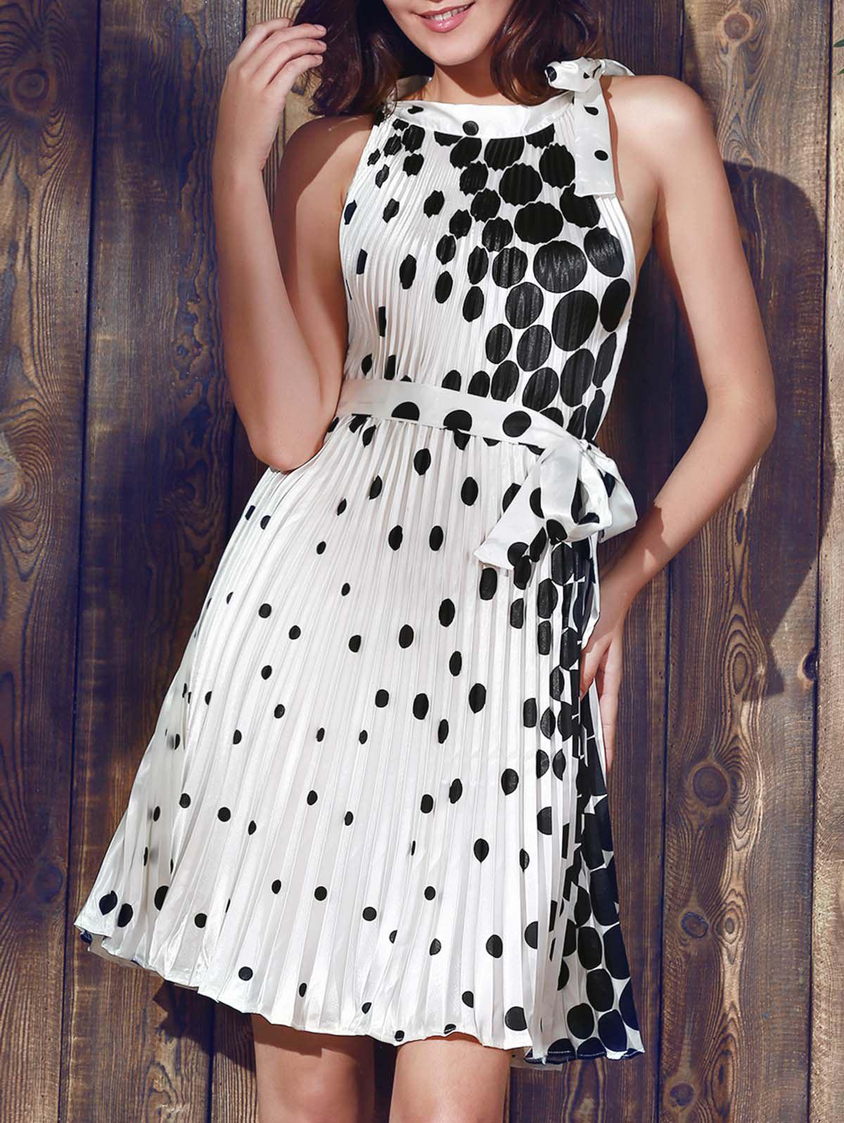 Vintage Round Collar Sleeveless Polka Dot Pleated Women's Dress - WHITE XL