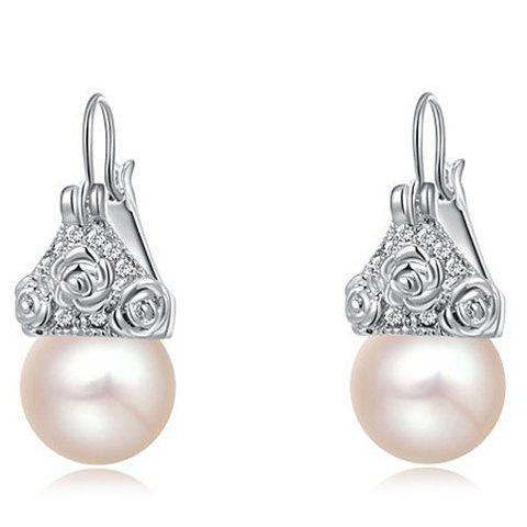 Pair of Rose Faux Pearl Earrings - SILVER