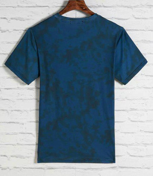 3D Indian Wolfhound Print Round Neck Short Sleeves Men's T-Shirt - BLUE XL