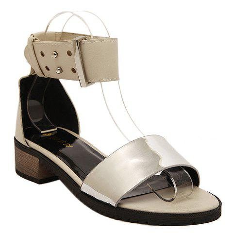 Fashionable Ankle Strap and Colour Block Design Sandals For Women - APRICOT 38