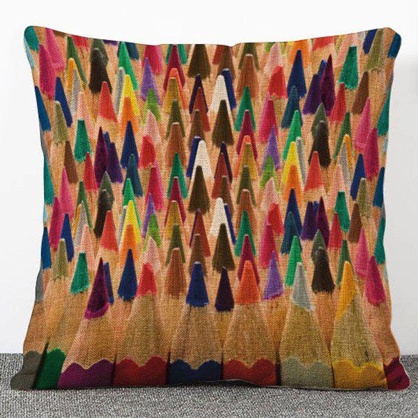 Chic Quality Multicolor Pencil Pattern Flax Pillow Case(Without Pillow Inner) - COLORMIX