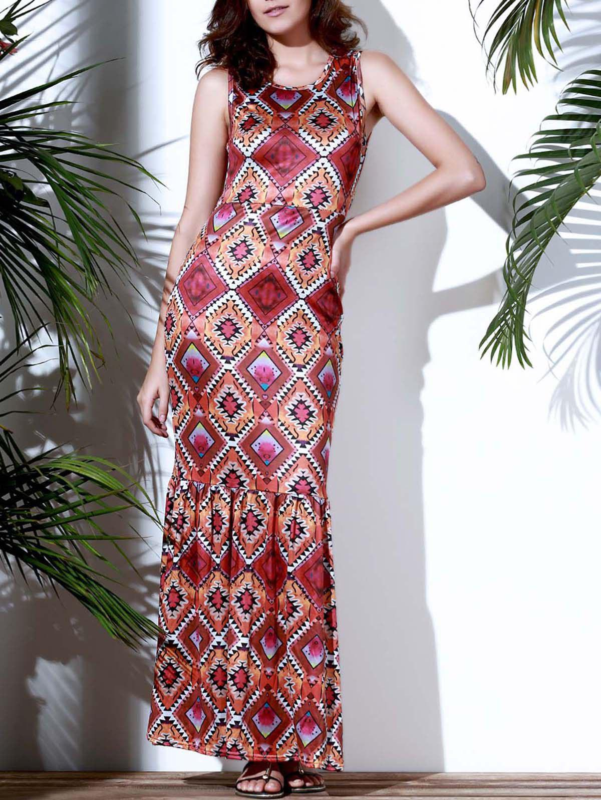 Vintage Sleeveless Geometric Printed Maxi Mermaid Dress For Women - COLORMIX M