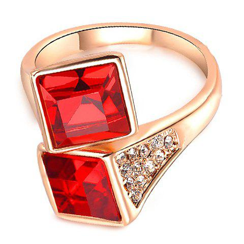 Square Faux Ruby Decorated Ring - GOLDEN ONE-SIZE