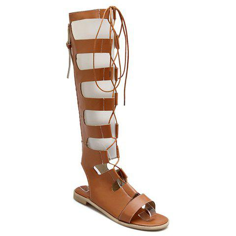 Fashionable PU Leather and Lace-Up Design Sandals For Women - BROWN 38