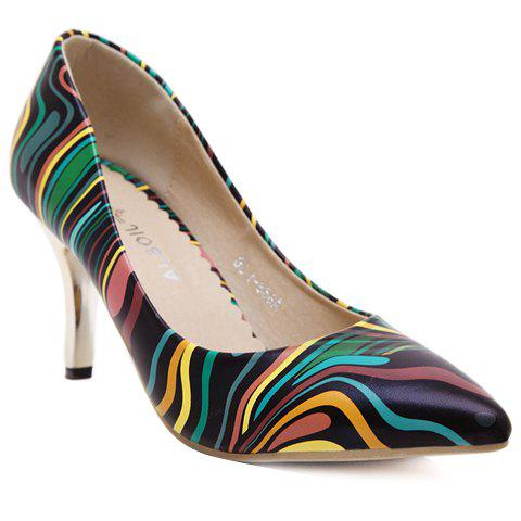 Stylish Striped and Stiletto Heel Design Pumps For Women