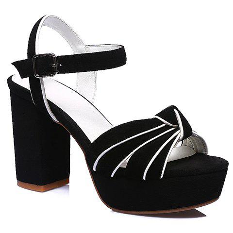 Stylish Suede and Chunky Heel Design Sandals For Women - BLACK 36