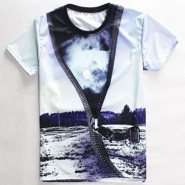 Fashion Round Neck 3D Zipper Print Men's Short Sleeves T-Shirt - COLORMIX 2XL