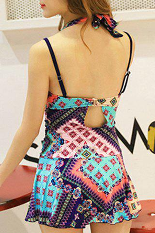 Fashionable Halter Floral Print One-Piece Swimsuit For Women