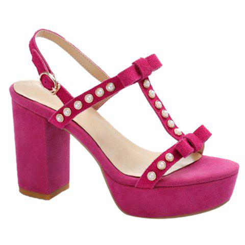 Sweet Beading and Suede Design Sandals For Women - ROSE 39