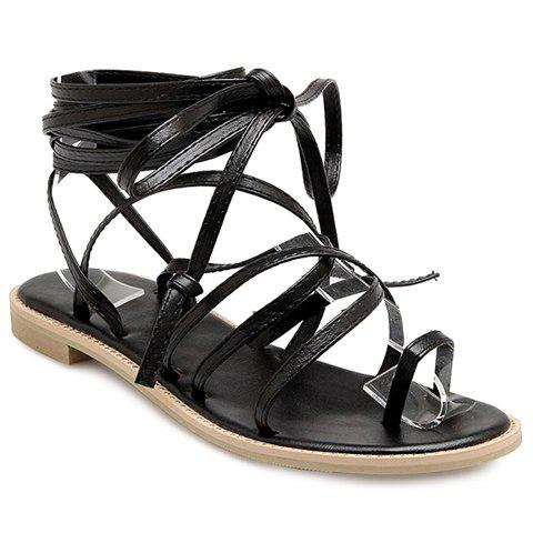 Stylish Flat Heel and Cross Straps Design Women's Sandals - BLACK 35