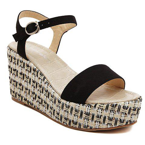 Casual Suede and Wedge Heel Design Sandals For Women - BLACK 34