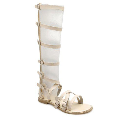 Trendy Zipper and Buckles Design Women's Sandals - OFF WHITE 38