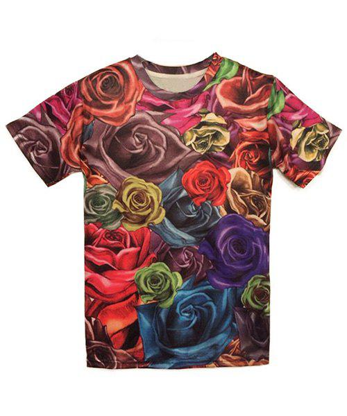 Stylish Round Neck 3D Rose Print Men's Short Sleeves T-Shirt - S COLORMIX