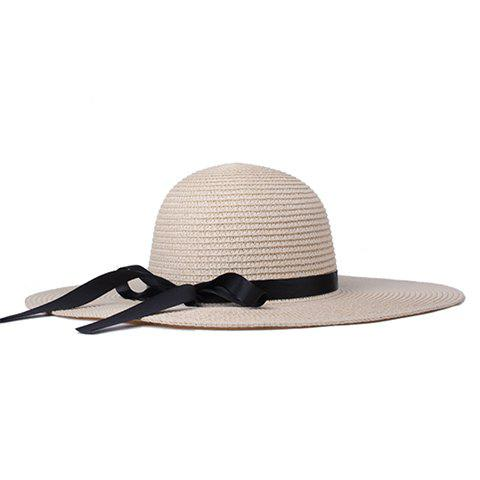 Chic Black Ribbon Embellished Summer Straw Hat For Women - OFF WHITE