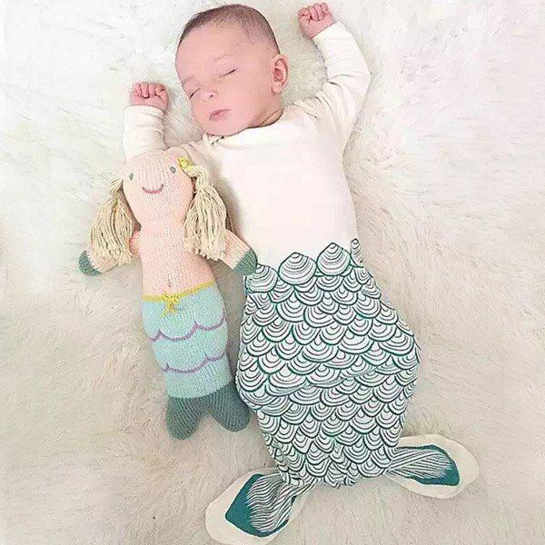 Stylish Mermaid Shape Clothes Style Summer Baby Sleeping Bag Blanket - COLORMIX S