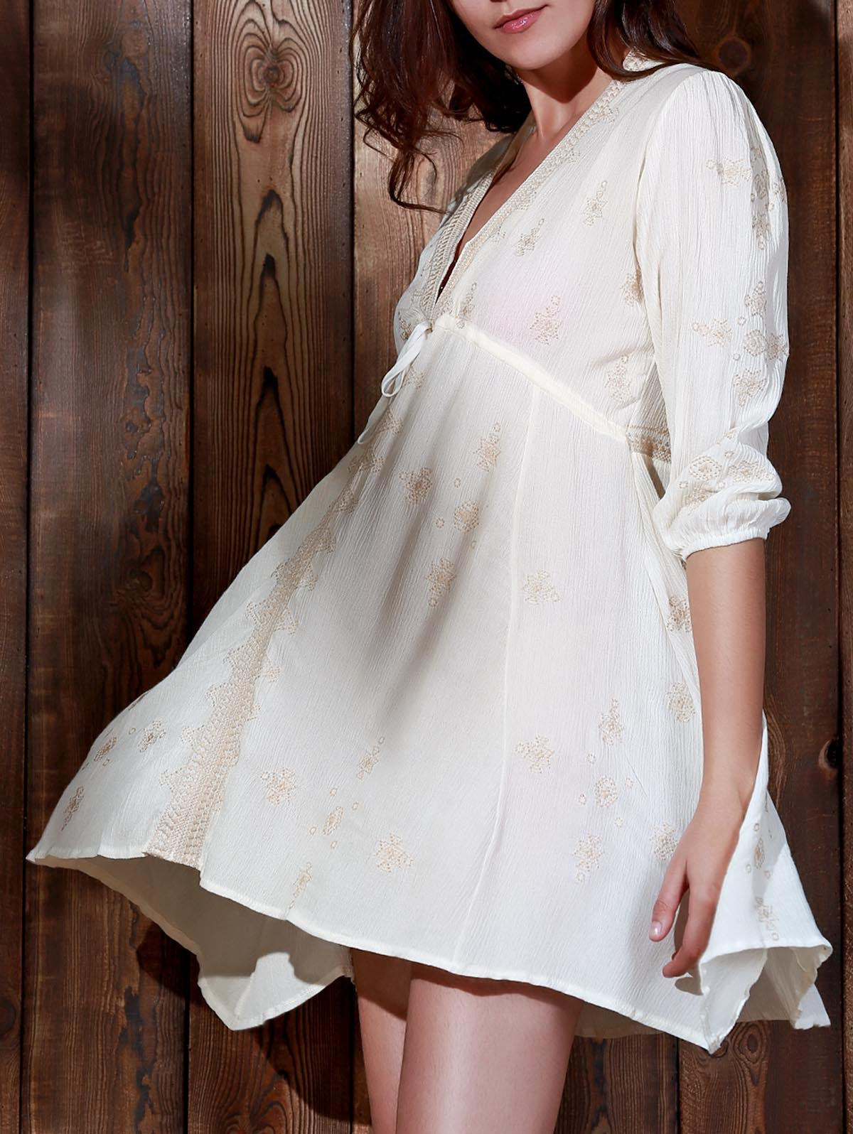 Vintage Embroidered Plunging Neck 3/4 Sleeve Waist Tied Dress For Women - OFF WHITE L