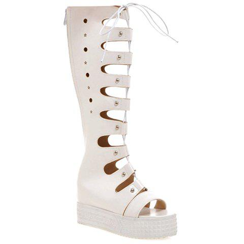 Trendy Solid Colour and Platform Design Women's Sandals - WHITE 38