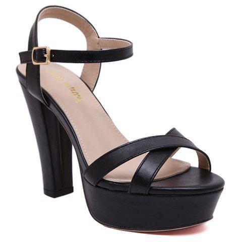 Simple PU Leather and Buckle Design Sandals For Women - BLACK 34