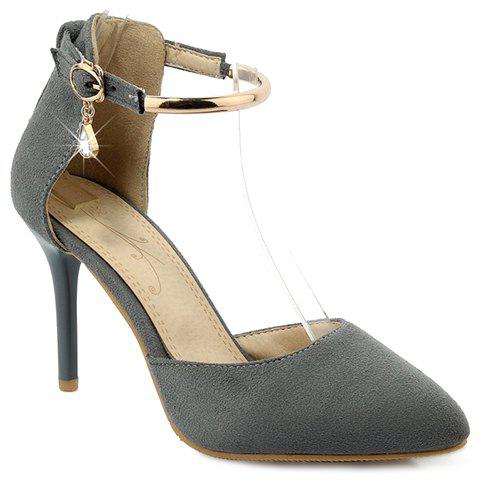 Trendy Rivets and Two-Piece Design Women's Pumps - GRAY 37